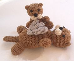 Mommy Sea Otter with Pup - $5.00 by Tammy Mehring of Addicted to Crocheting