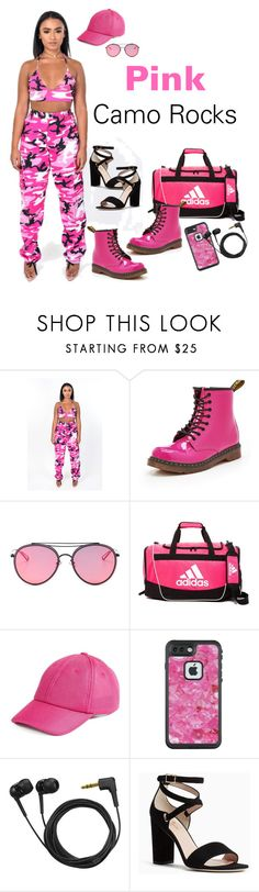 """""""Pink Camo"""" by sweetyincago ❤ liked on Polyvore featuring Dr. Martens, LMNT, adidas, Ivy Park, LifeProof, Sennheiser and Kate Spade"""