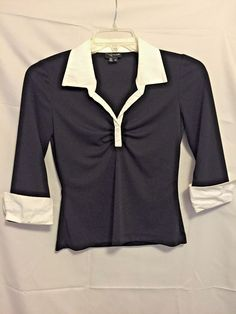 My Michelle Black poly Slinky Top with White Cotton Cuffs 3/4 Sleeve V Neck Gat #MyMichelle #Blouse #Career