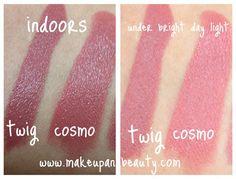 MAC Twig vs MAC Cosmo Lipstick Photos, Swatches : MAC Twig lipstick and MAC Cosmo lipstick are sisters but not twins. Mac Twig Lipstick, Mac Lipstick Swatches, Mac Eyeshadow, Makeup Swatches, Lipstick Colors, Lip Colors, Makeup 2016, Makeup Kit, Makeup Ideas