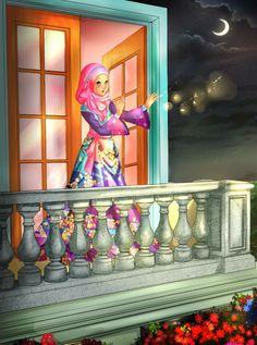 Muslimische Prinzessin am Balkon (Zeichnung) Muslim princess on the balcony (drawing) Ramadan Images, Mubarak Ramadan, Islamic Cartoon, Hijab Cartoon, Islamic Girl, Muslim Girls, Muslim Women, Islamic Pictures, Girl Cartoon