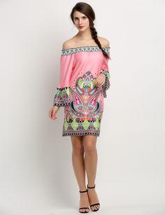 Fashion Women Sexy Off Shoulder Print Straight Beach Casual Mini Dress