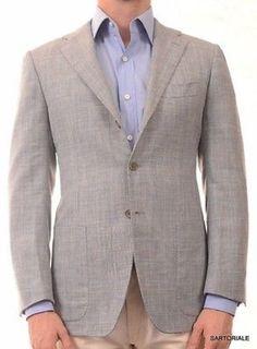 KITON Napoli Blue Plaid Cashmere-Linen-Silk Blazer Jacket EU 48 NEW US 36 38 R8