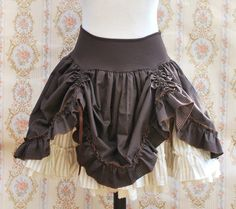 brown and offwhite stripped skirt steampunk - thebatinthehat - Mini Skirts