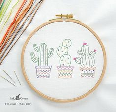 Cactus Prickly Pear Digital hand embroidery pattern by inkandocean Cactus Embroidery, Embroidery Hoop Art, Hand Embroidery Patterns, Vintage Embroidery, Cross Stitch Embroidery, Embroidery Tattoo, Etsy Embroidery, Embroidery Sampler, Art Patterns