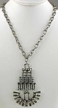 5fa5302c480 Vintage modernist silver tone kinetic necklace Pendant 3 long x 2 wide Neck  chain measures long when outstretched Unmarked Excellent vintage condition