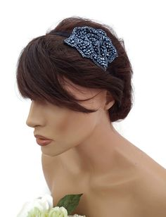 20's Flapper Style Black Bugle Bead Flower Design Headband Hair Band Fascinator