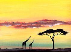 SCA_ART ORIGINAL WATERCOLOUR PAINTING AFRICAN GIRAFFES SUNSET SKY - UK ARTIST | eBay