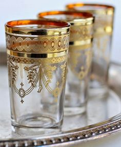 OFF, Set of 6 vintage Moroccan tea glasses, Multi-design handcrafted style cups, colors, gold & Style Artisanal, Pouf Cuir, Tea Glasses, Mint Tea, Coffee Set, Moroccan Style, Vintage Tea, Modern Retro, Tea Set