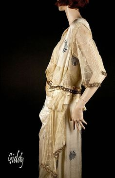 1915 French Dress- Ivory Silk w/Mod Geometry, Embroidered Netting, Exquisite Construction