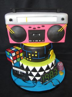 80's cake, boombox, pac man and rubix cube