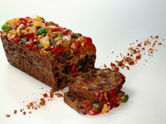 Fruit Cake made with green and red cherries and pineapple and mixed candied fruit.