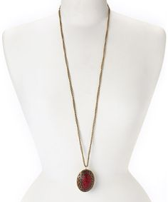 Look what I found on #zulily! Red Stone & Gold Oval Pendant Necklace by ZAD #zulilyfinds