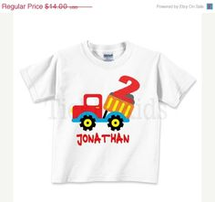 ON SALE Personalized Dump Truck Birthday ShirtRed by TickleKids,