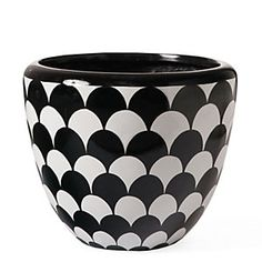 Have fun with this black and white planter for a patterned accent_Lulu Planter - Grandin Road