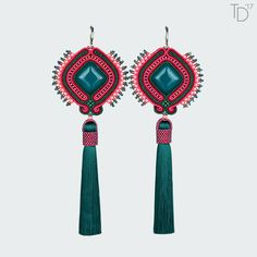 »Love for Teal« soutache earrings with top-quality ceramic cabochons by Lenka Gondova from L2Studio.Sk, Japanese TOHO seed beads, Czech soutache braids, MATUBO 8/0 beads, extra long silk tassels, stainless steel earwires, leatherette.