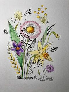 Envie de printemps. Aquarelle et feutre toujours inspirée par le style de Cécile Hudrisier.