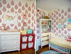Project Nursery - Eclectic Nursery with Red Paisley Stencil - Project Nursery