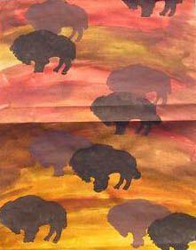 * Op een ondergrond van ecoline bizons tamponneren
