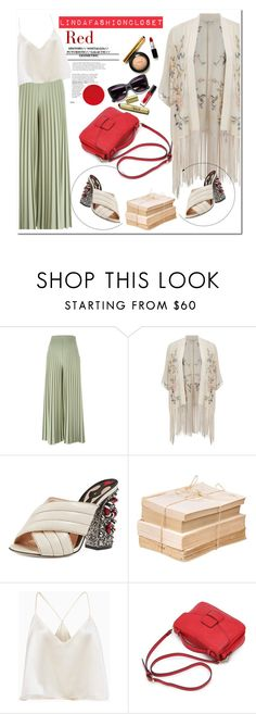 """""""Red elements"""" by lindaspfashioncloset ❤ liked on Polyvore featuring Givenchy, Miss Selfridge, Gucci, red, glitter, gucci, kimono and Partynight"""
