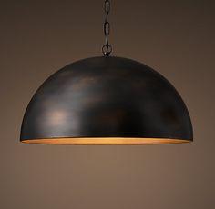 "Restoration Hardware 25"" diameter Antiqued Metal Dome Pendant also comes in antiqued brass"