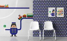 non-woven wallpaper Trains Love Design, Designer, Trains, Chair, Wallpaper, Childrens Rooms, Furniture, Home Decor, Wallpapers
