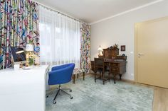 home office with floral drapes Home Office, Curtains, Floral, Projects, Home Decor, Log Projects, Blinds, Blue Prints, Decoration Home