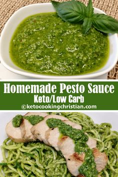 Homemade Pesto - Keto and Low Carb Pesto sauce is a great and very low carb way to add an Italian flair to your meal. You can even freeze some to have on hand anytime you want! #ketorecipes #keto #lowcarb #ketodiet #ketogenicdiet #lowcarbdiet #ketogenic #lowcarbhighfat #lowcarbrecipes #lchf #glutenfree #ketoweightloss #ketocookingchristian Healthy Pesto Sauce, Homemade Pesto Sauce, Keto Sauces, Low Carb Sauces, Ketogenic Recipes, Keto Recipes, Healthy Recipes, Keto Foods, Keto Chicken Salad