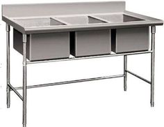 New Triple 3 Three Compartment Commercial Stainless Steel Sink Wash Basin Table Grab now Commercial Stainless Steel Sink, Stainless Steel Sinks, Commercial Kitchen Equipment, Wall Mount Faucet, Floor Drains, Restaurant Kitchen, Commercial Design, Cool Kitchens, Basin