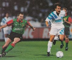 Marseille 3 Glentoran 0 (8-0 agg) in Sept 1992 at Stade Velodrome in the Champions League 1st Round, 2nd Leg. Rafael Vazquez has the ball.
