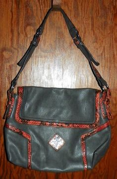 Simply Vera Wang Gray Leather Purse with Red Snakeskin Trim NEW without  Tags  VeraWang   022f932a819b5