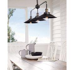 Manor 3 Light Bar Pendant Frame in Aged Steel | Traditional Pendants | Pendant Lights | Lighting
