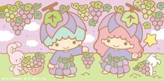 """kikilala_sanrio collected """"Sweet Grape Harvest"""" in becoming the pick for Foon Chan My Melody Wallpaper, Sanrio Wallpaper, Little Twin Stars, Little Star, Hello Kitty, Doodle Girl, Star Banner, Kitty Images, Sanrio Characters"""