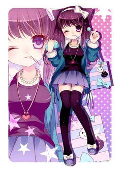Anime girl - purple hair, purple eyes, black-blue-purlpe dress, cat ear, stars