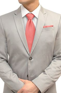 Tie and Pocket Square Set Peach Pink Coral $38
