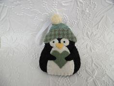 Penguin Felt Ornament Decoration Primitive Christmas Tree Fuzzy Felted Winter Hat