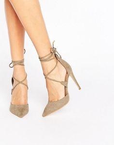 Public Desire Hailey Khaki Tie Up Heeled Shoes at Asos
