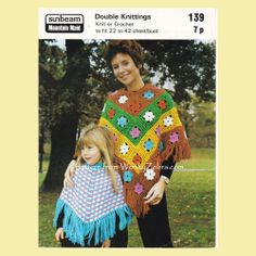 WZ950 ponchos.Flower motif crochet and colourwork knitting in mother and daughter sizes.