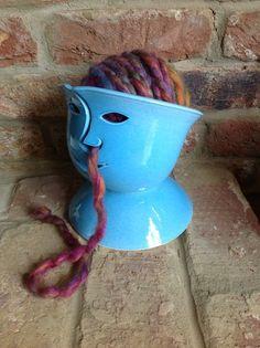 Blue 'Face' Yarn Bowl by Earth Wool Fire