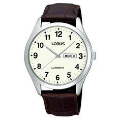 104e012e412a Lorus Gents Lumibrite Day Date Strap Watch