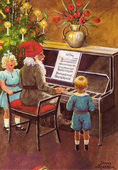 Jenny Nystrom Postcard - Tomte Playing Piano - Click Image to Close Swedish Christmas, Christmas Art, Vintage Christmas Cards, Vintage Cards, Music Ornaments, Elsa Beskow, Scandinavian Gnomes, Childrens Christmas, Christmas Paintings