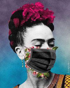 Be safe like Frida - Gallery Fridah Kahlo, Arte Van Gogh, Frida Art, Masks Art, Collage Artists, Diego Rivera, Encaustic Painting, Surreal Art, Oeuvre D'art