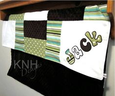 Personalized Children's Minky Quilt with Applique in White, Green Dot and Aqua Stripes, boy baby blanket, I would like to make this.