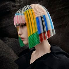 Dazzling colours clash and collide and a variety of striking shapes jostle for attention. Work Hairstyles, Creative Hairstyles, Straight Hairstyles, Scene Girl Hair, Scene Girls, Dyi Hair Color, Hair Inspo, Hair Inspiration, Angelo Seminara
