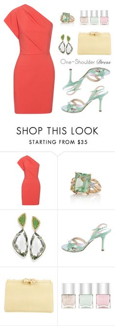 """""""one shoulder dress"""" by arohii ❤ liked on Polyvore featuring Maje, Belk & Co., Jimmy Choo, Judith Leiber, Nails Inc. and dress"""