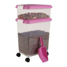 Iris Airtight Pet Food Storage Container - Pink. That would be awesome if it wasn't pink!!