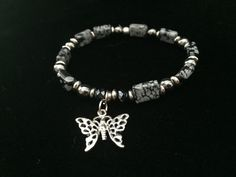 Women's Snowflake Obsidian & Hematite Bracelet with Butterfly Charm