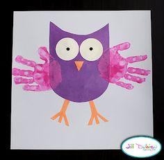 Mama's Felt Cafe: Valentine's Day Craft-- Felt Hand Print Owl Stuffed Toy