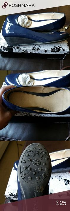 Comfy navy blue wedges... Brand new, never worn! Original box included... Chinese Laundry Shoes Wedges