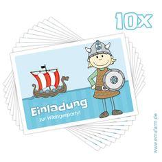 """Einladungskarten - 10 Einladungen Kindergeburtstag """"Wikinger"""" - ein Designerstück von emufarm bei DaWanda"""